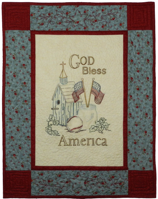 "/""GOD BLESS AMERICA/"" WALL HANGING HAND EMBROIDERED PATTERN by Primrose Lane"